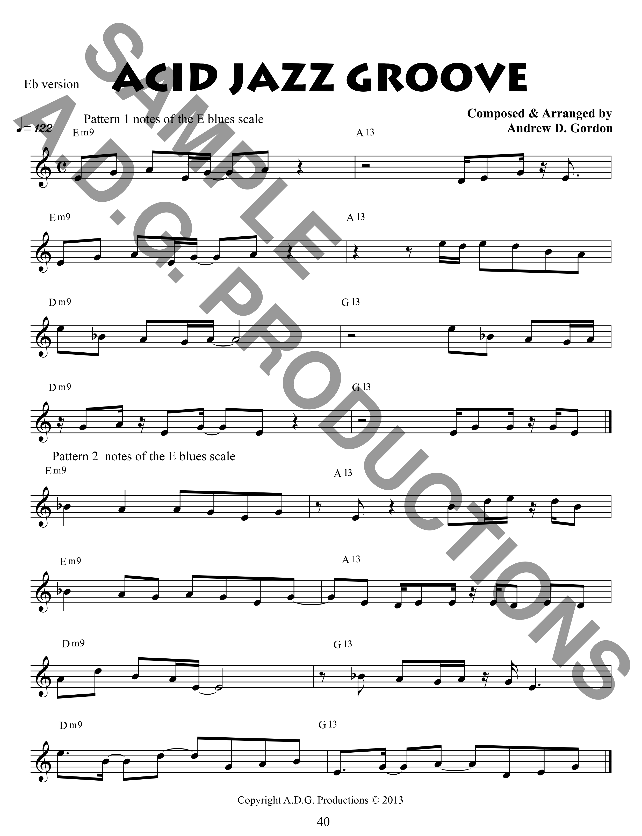 The Blues Scale for Alto Saxophone and Eb instruments PDF file